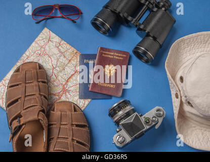 Travel vacation objects on a blue background - Stock Photo