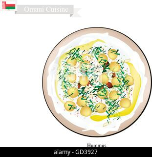 Omani Cuisine, Hummus or Traditional Spread Dip or Spread Made Form Chickpeas, Farlic, Tahini and Olive Oil. One - Stock Photo