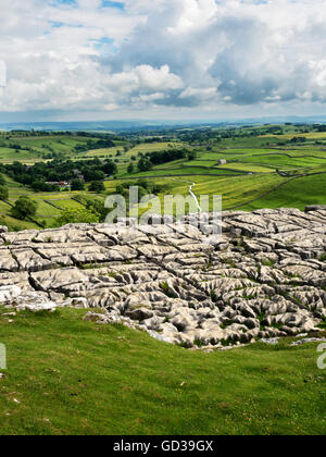 View over Malhamdale from Malham Cove in Summer Malham Yorkshire Dales England - Stock Photo
