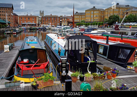UK,Gloucestershire,Gloucester Docks,Canal Barges Moored in Victoria Basin - Stock Photo