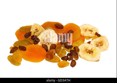 Dried fruits mix isolated on white - Stock Photo