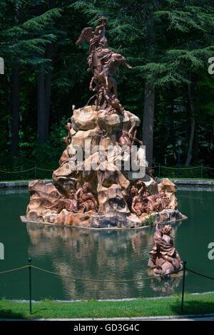 La Fama fountain. Royal Palace La Granja of San Ildefonso, Segovia province, Castile and Leon, Spain. - Stock Photo