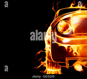 Sports car covered with flames - Stock Photo