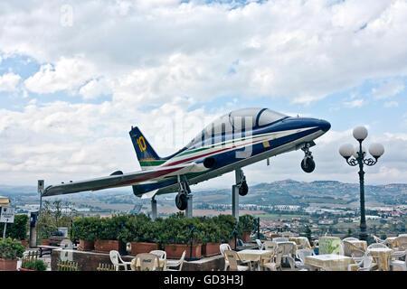 Aermacchi MB-339PAN, Frecce Tricolori, Italian Arcobatic Airforce team, in Loreto, Ancona, Marche, Italy, Europe - Stock Photo