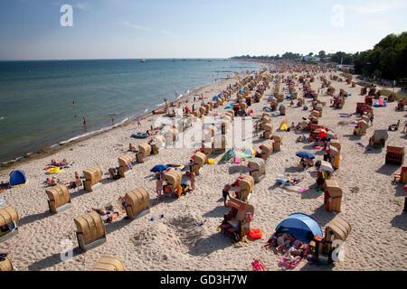 Coast and beach, Baltic resort Kellenhusen, Luebecker Bucht bay, Baltic Sea coast, Schleswig-Holstein - Stock Photo