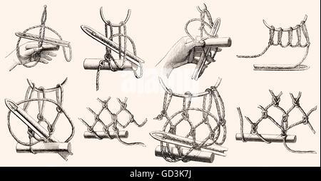 meshing nets by hand - Stock Photo