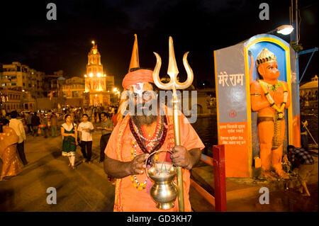 Sadhu with trident, kumbh mela, Nasik, maharashtra, india, asia - Stock Photo