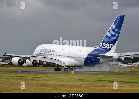 Farnborough, UK. 11th July, 2016. Airbus A380 touching down after its display Credit:  Uwe Deffner/Alamy Live News - Stock Photo