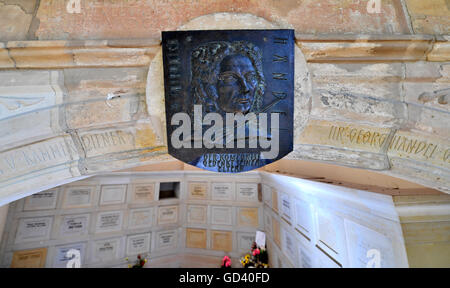 A portrait of composer Georg Friedrich Haendel can be seen at a tomb in which his parents are burried at Stadtgottesacker - Stock Photo