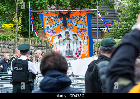 Belfast, UK. 12th July, 2016. Photographs from today's 12th of July Pride of Ardoyne Loyalist march that was stopped - Stock Photo