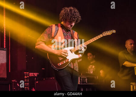 London, UK. 12th July, 2016. Elvis Kheun of Fidlar performs on stage at Electric Brixton on July 12, 2016 in London, - Stock Photo