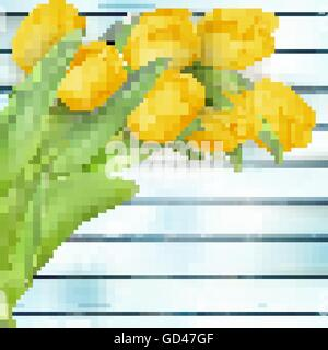 Yellow tulips flowers on wooden planks. EPS 10 - Stock Photo