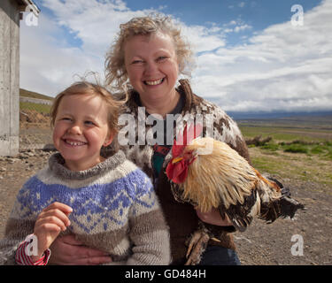 Mother and child on a farm, Western Iceland - Stock Photo