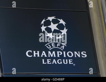 UEFA Champions League logo, the national football association of Europe - Stock Photo