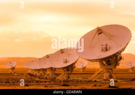 Radio telescopes at the Very Large Array (VLA), Plains of San Agustin, Socorro, New Mexico USA - Stock Photo