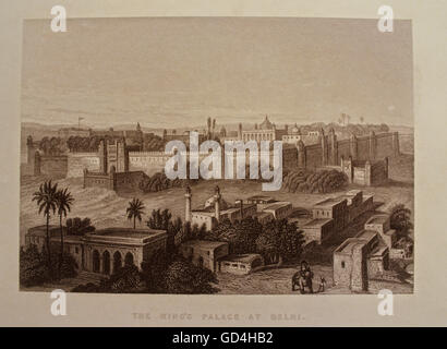 Lithograph of Red Fort - Stock Photo