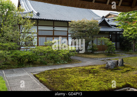 View into a traditional courtyard with garden of a big Japanese house in the higashiyama district (old town) of - Stock Photo