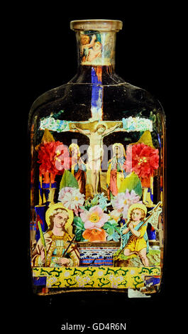 fine arts, folk art, impossible bottle with crucifixion, glass, paper, Black Forest, 19th century, private collection, - Stock Photo