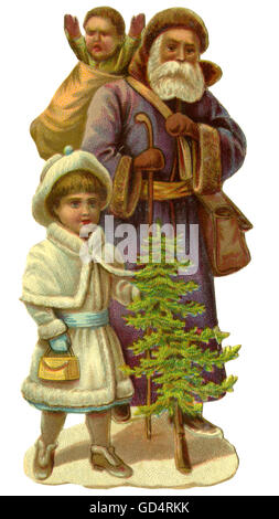 Christmas, Father Christmas, Saint Nicholas with children, Germany, 1890, Additional-Rights-Clearences-NA - Stock Photo