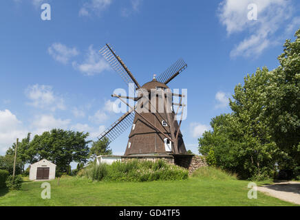 Melby, Denmark - July 11, 2016: Historic windmill in Dutch style in Northern Zealand region. - Stock Photo