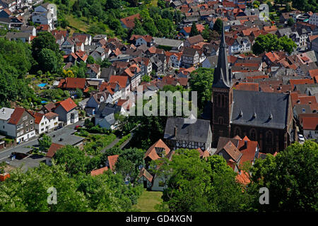 Aerial picture with Protestant Lutheran Town Church, Biedenkopf City, district of Marburg-Biedenkopf, Hesse, Germany - Stock Photo