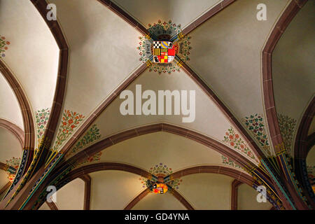 Melanchthon House, Memorial Hall, vaulting, coat of arms, Bretten, Kraichgau, district of Karlsruhe, Baden-Wurttemberg, - Stock Photo