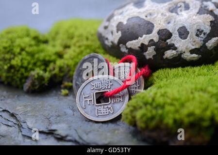 Chinesische Gluecksmuenzen mit Moos und Stein, Glueck - Stock Photo