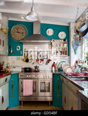 eclectic kitchen with 1950s english rose units and st giles blue by farrow ball wall - Eclectic Kitchen