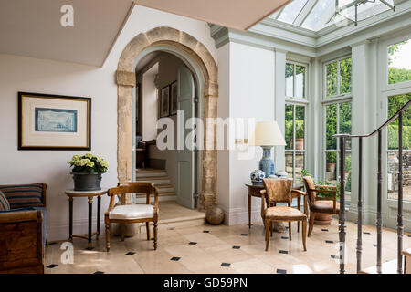 Bridge In Amsterdam Canal · Old Leather Bridge Chairs And Round Table In  Entrance Hall With Stone Arch And Glass Ceiling