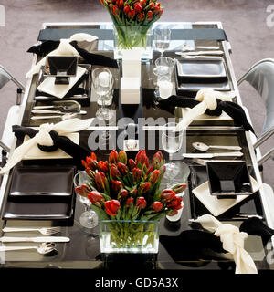 Modern dining in black and white - Stock Photo