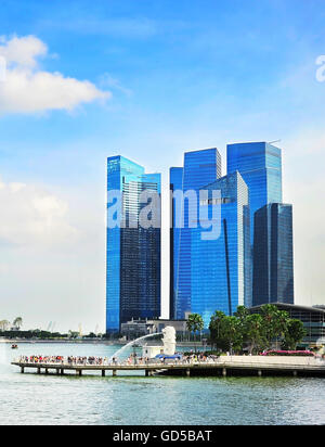 Landscape Merlion and Downtown Core of Singapore - Stock Photo