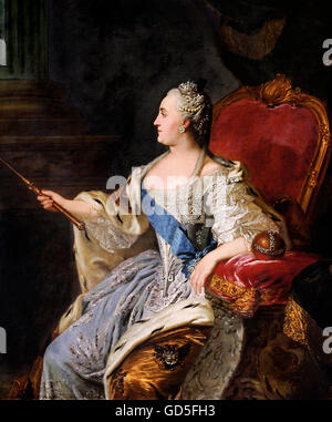 Catherine the Great.  Portrait of Empresss Catherine II of Russia (1729-1796) by Fyodor Rokotov, 1763 - Stock Photo
