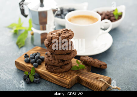 Chocolate cookies with coffee - Stock Photo