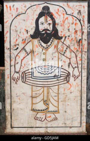 Sadhu playing drum painted on marble, jagannath temple, puri, orissa, india, asia - Stock Photo