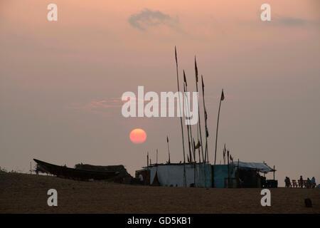 Huts on beach, puri, orissa, india, asia