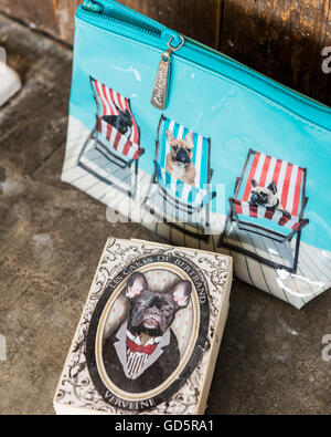French bull dogs make-up bag - Stock Photo