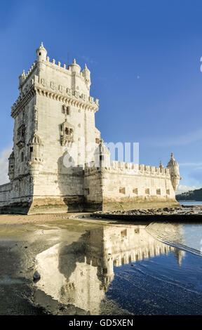 Belem Tower (Torre de Belem, Manueline style, Portuguese late gothic). A UNESCO World Heritage Site. Lisbon, Portugal - Stock Photo