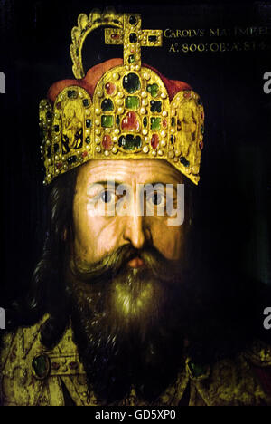 Charlemagne in his coronation with the imperial crown Albrecht Dürer 1471-1528  Charlemagne Karl was to 747, the - Stock Photo