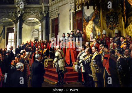 Inauguration of the Reichstags  by Wilhelm II White Hall of the Berlin City Palace German Germany (  The opening - Stock Photo