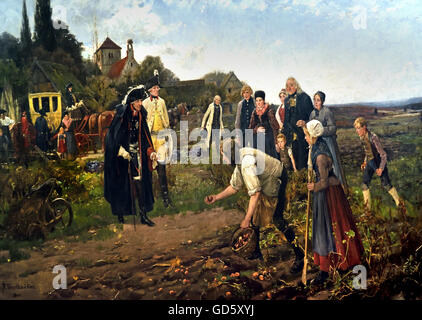 Frederick the Great of Prussia examines the potato harvest 1886 German Germany ( Frederick II  1712 – 1786)  King - Stock Photo