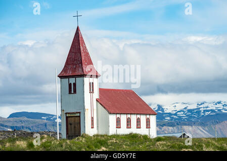 The church in Hellnar, an ancient fishing village on Snefellsnes peninsula. Iceland - Stock Photo