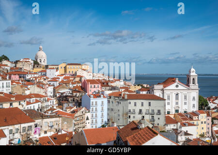 View of the Alfama district of Lisbon from Miradouro de Santa Luzia. Portugal - Stock Photo