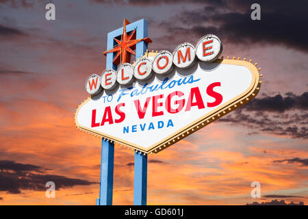 Las Vegas welcome sign with sunrise sky. - Stock Photo
