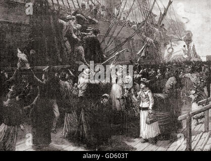 On board an emigrant ship in the 19th century. - Stock Photo