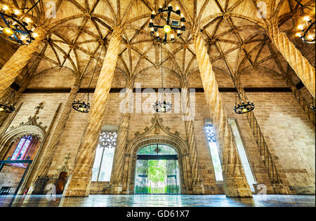 The Contract Hall at the Llotja de la Seda, Silk Exchange building. UNESCO World Heritage site. Valencia. Spain - Stock Photo