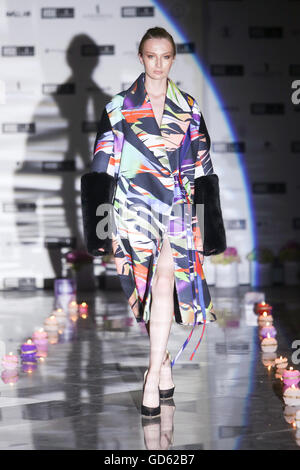 Model wearing clothes designed by Kata Szegedi on the Fashion Week Zagreb fashion show - Stock Photo
