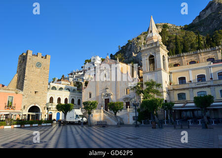 Torre dell'Orologia and  Church of San Giuseppe in Piazza IX Aprile - Taormina, Sicily, Italy - Stock Photo