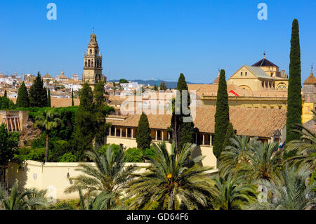 The Alcazar of Catholic Kings and minaret tower of the Great Mosque, Cordoba, Andalusia, Spain - Stock Photo