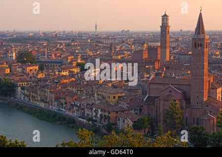Verona, Santa Anastasia church, Lamberti tower, Adige River, Torre de Lamberti, Veneto, Italy, Europe - Stock Photo