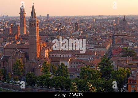 Verona, Santa Anastasia church, Lamberti tower, Torre de Lamberti, Veneto, Italy, Europe - Stock Photo